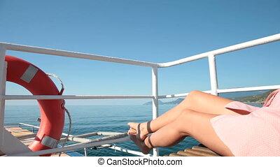 yacht, délassant, girl, pont