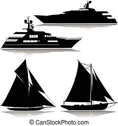 yacht, dans, les, midst, de, a, vecteur