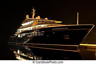 yacht, dans, port