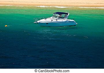 yacht de croisière, dans, moreton, baie