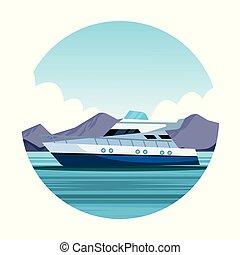 yacht, dessin animé, bateau, icône