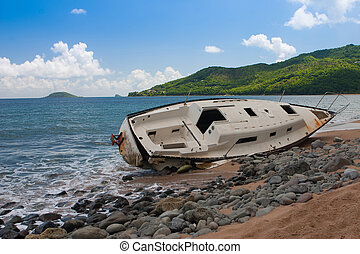 Yacht destroyed after hurricane, Guadeloupe island