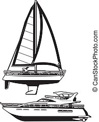 yacht - black and white illustration of a sailing vessel and...