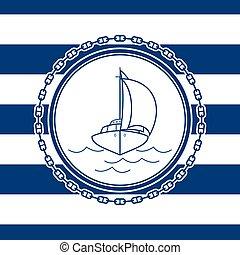yacht, emblème, mer