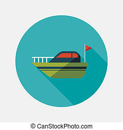 Yacht flat icon with long shadow