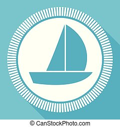 Yacht flat vector icon, boat square blue web button