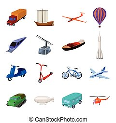 Yacht, funicular, metro transport for the transportation of passengers and cargo. Transport set collection icons in cartoon style vector symbol stock illustration web.