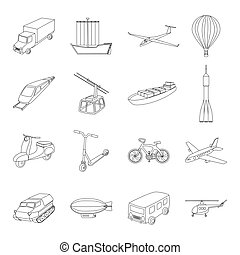 Yacht, funicular, metro transport for the transportation of passengers and cargo. Transport set collection icons in line style vector symbol stock illustration web.