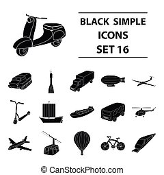 Yacht, funicular, metro transport for the transportation of passengers and cargo. Transport set collection icons in black style vector symbol stock illustration web.