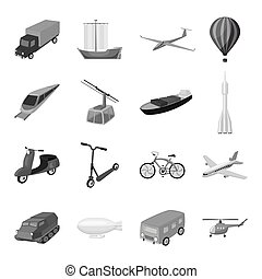 Yacht, funicular, metro transport for the transportation of passengers and cargo. Transport set collection icons in monochrome style vector symbol stock illustration web.