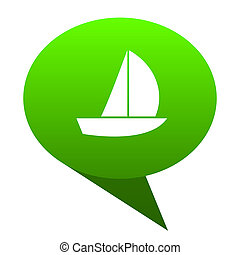 yacht green bubble icon