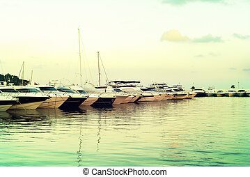 Yacht harbor with luxury boats