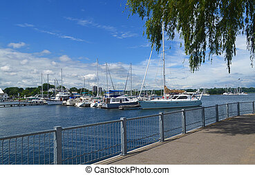 The yacht harbour of Hamilton Ontario on a beautiful summer day.