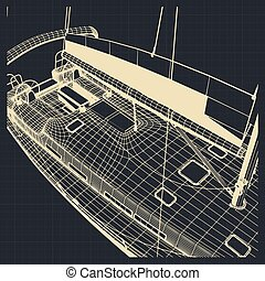 Yacht hull drawings - Stylized vector illustration of the...