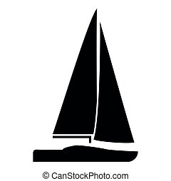 Yacht icon black color illustration flat style simple image