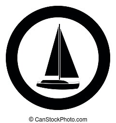 Yacht  icon black color in circle