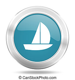 yacht icon, blue round glossy metallic button, web and mobile app design illustration