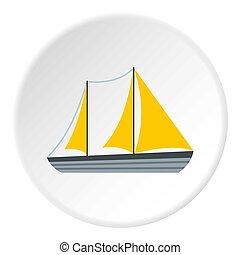 Yacht icon, flat style