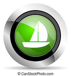 yacht icon, green button, sail sign