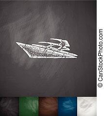 yacht icon. Hand drawn vector illustration