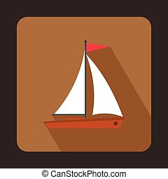 Yacht icon in flat style