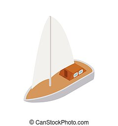 Yacht icon, isometric 3d style