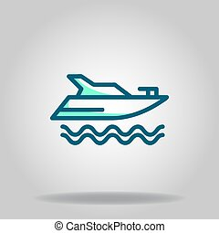 yacht icon or logo in  twotone - Logo or symbol of yacht ...