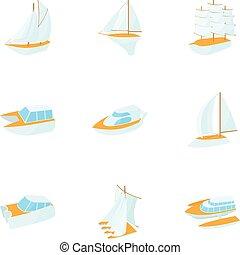 Yacht icons set, cartoon style