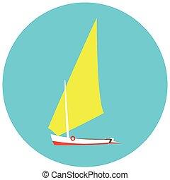 yacht illustration on a blue background