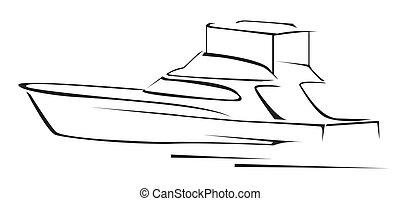 yacht, illustration, symbole, vecteur