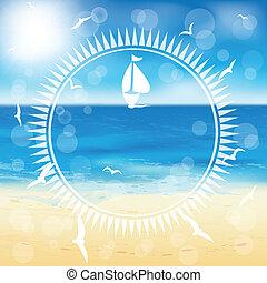 yacht, in, il, aperto, sea.