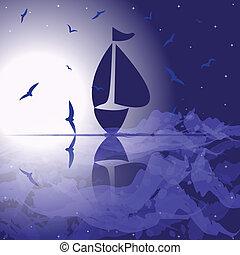 yacht, in, il, mare aperto, a, night.