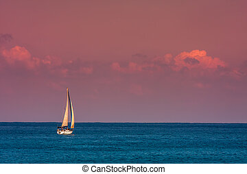 yacht, in, il, mare, durante, sunset.