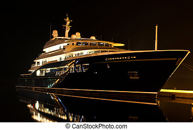 yacht in port - yacht at dock in cold winter night