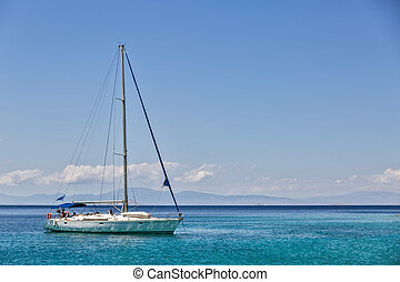 Yacht at anchor in the Saronic Gulf, Greece