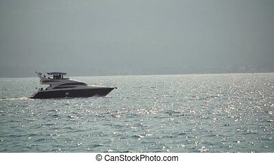 Yacht in the Boka bay, Montenegro, Adriatic, in HD