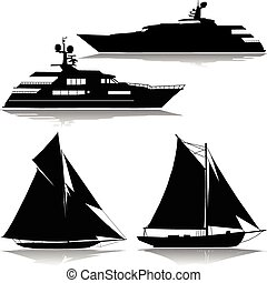 Yacht in the midst of a vector