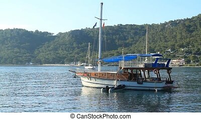 Yacht in the morning at sea anchored in Antaly