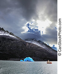 Yacht in  the national park Torres del Paine
