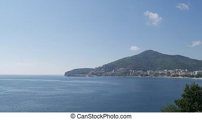 Yacht in the sea, aerial photography drone, Budva, near...