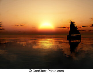 Yacht in the sea at sunset
