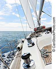 yacht is tacking in Adriatic sea, - yacht tacking in...