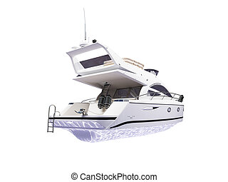 Yacht isolated back view