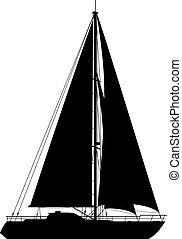 yacht, isolato, bianco, fondo.