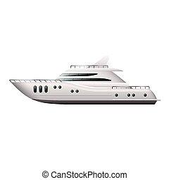yacht, isolato, bianco, vettore