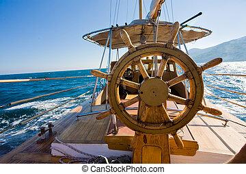 yacht journey, steering wheel