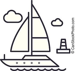 Yacht line icon concept. Yacht vector linear illustration, sign, symbol