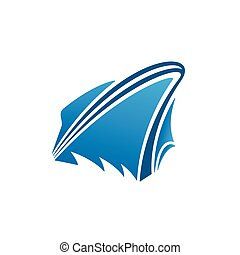yacht, logotipo, disegno, barca, icona
