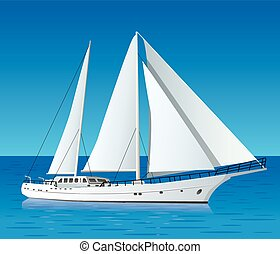 yacht, luxe, voile, mer