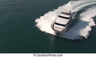 yacht, luxe, vue aérienne